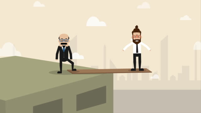 businessman is standing on the plank at the edge of the cliff with boss controlling over  (concept cartoon of social issue) - animazione biomedica video stock e b–roll