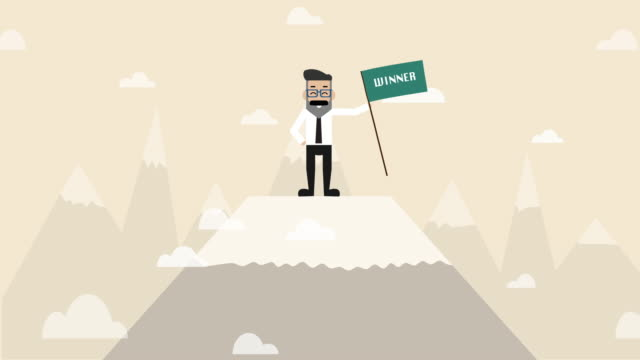 businessman is standing on the top of snow mountain holding winner flag   (business concept cartoon) - cup stock videos & royalty-free footage