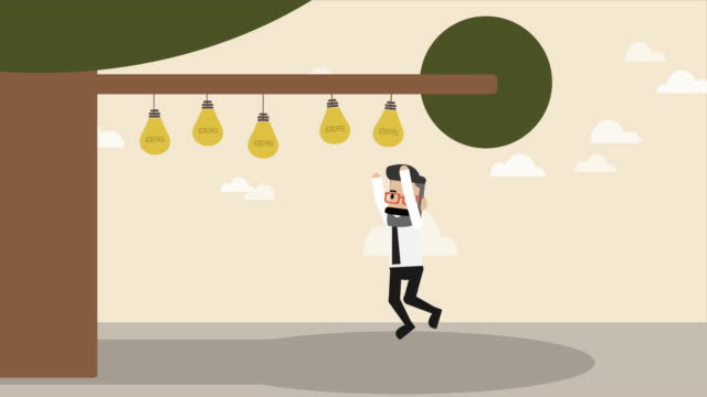 businessman jumping to get lightbulb idea hanging on the tree (business concept cartoon) - opportunity stock videos & royalty-free footage