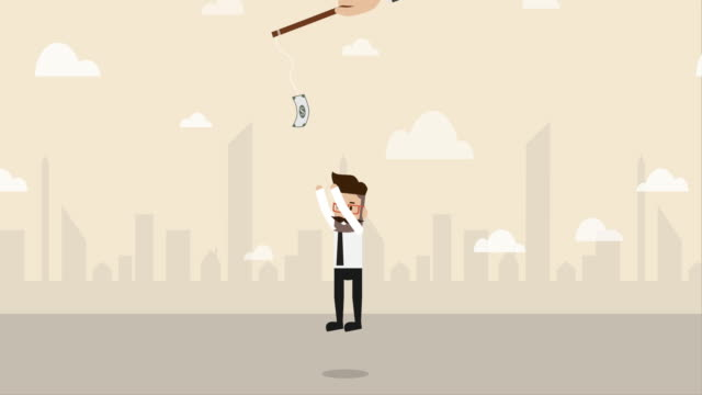 businessman jumping to get trapped money  (business concept cartoon) - opportunity stock videos & royalty-free footage