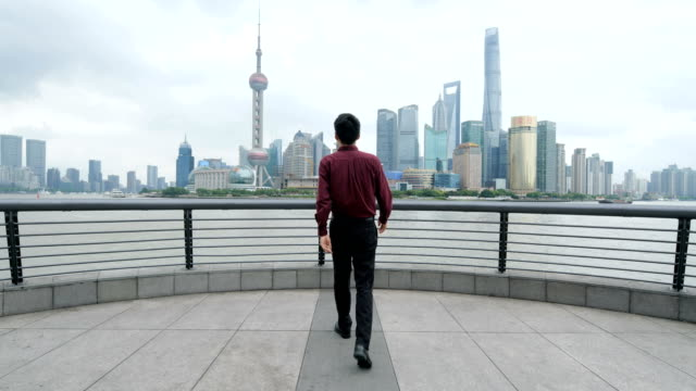businessman looking at shanghai skyline - standing stock videos & royalty-free footage