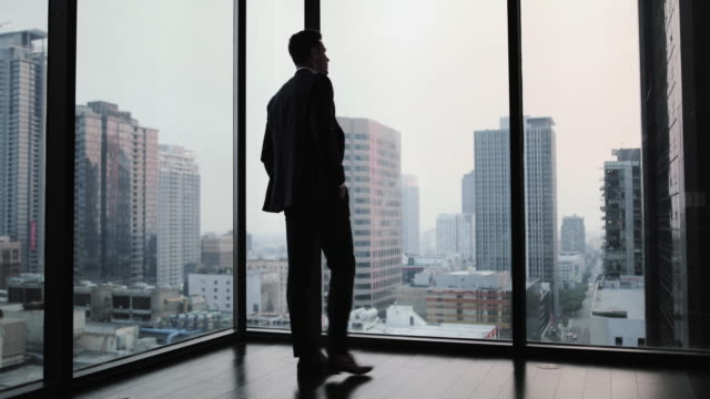 vidéos et rushes de businessman looking out at city skyline - regarder par la fenêtre