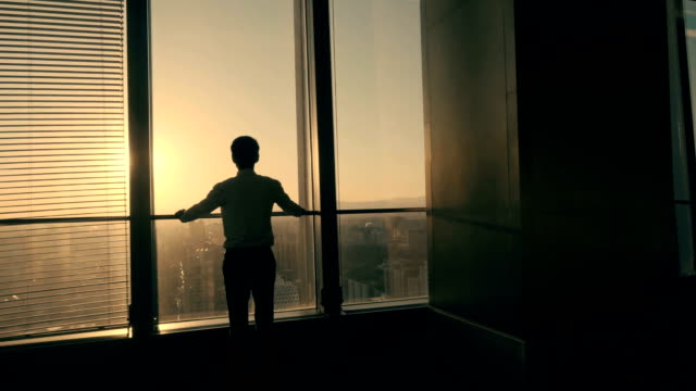 Businessman looking sunset in office
