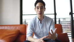 Businessman making a vlog