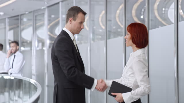 DS Businessman meeting with a female collegue in corporate hallway