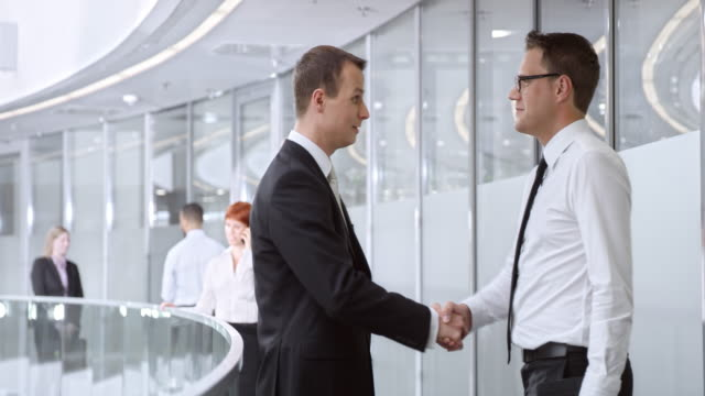DS Businessman meeting with colleague in corporate hallway