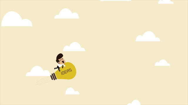 businessman on a flying lightbulb idea rocket - cartoon stock videos & royalty-free footage