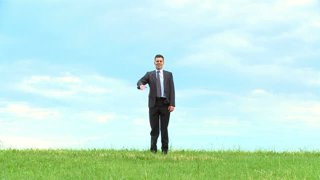 hd slow-motion: businessman on a meadow - full suit stock videos and b-roll footage