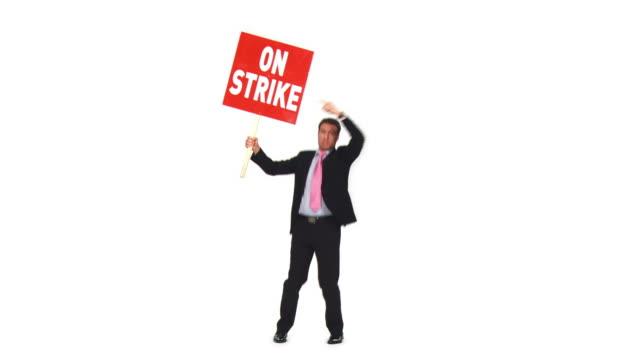 vídeos de stock e filmes b-roll de hd: empresário sobre uma greve - camisa e gravata
