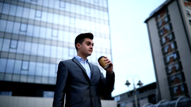 businessman on coffee break - disposable cup stock videos and b-roll footage