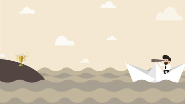 vidéos et rushes de homme d'affaires sur le bateau de papier recherchant le success - searching