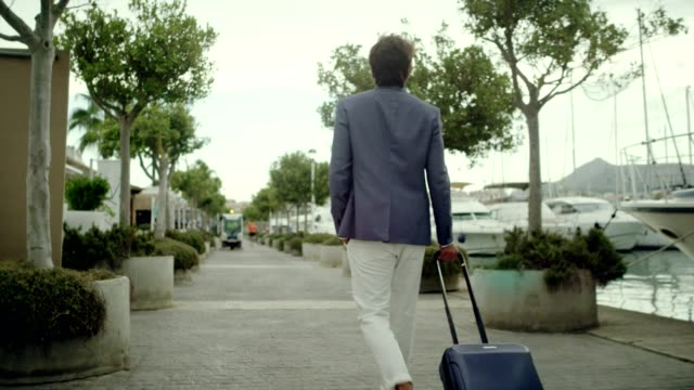 businessman on vacation. walking with suitcase on marina - one man only stock videos & royalty-free footage