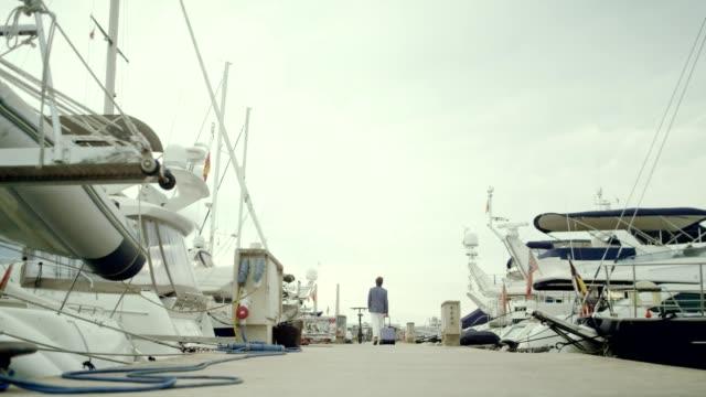 バカンスの実業家。マリーナにスーツケースを持って歩く - 商港点の映像素材/bロール