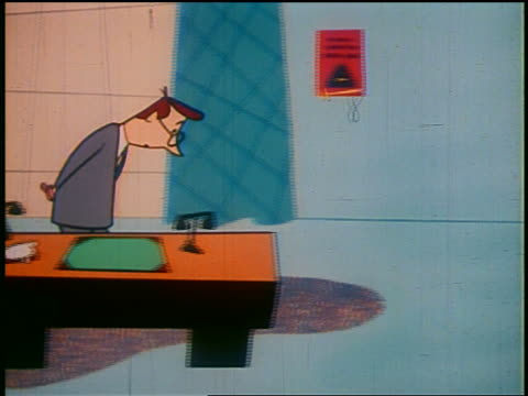 "1948 ANIMATED PAN businessman pacing + watching red ""sales"" chart plummet + drip in to trash can"