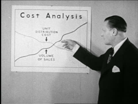 "b/w 1946 businessman points to chart entitled ""cost analysis"" + talking / documentary - corporate business stock videos & royalty-free footage"