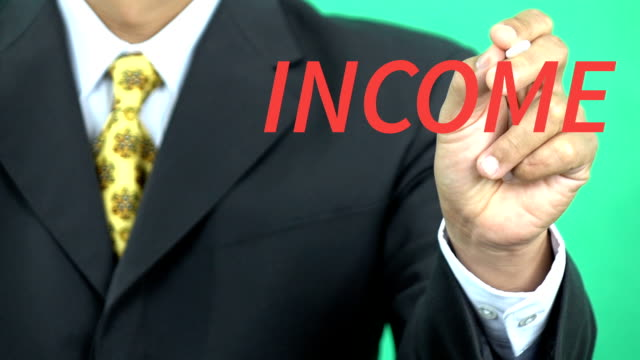 Businessman presenting Income word, Business Concept