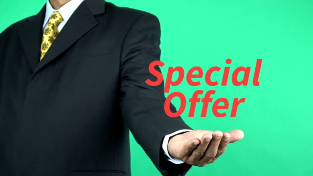 Businessman presenting Special Offer word, Business Concept