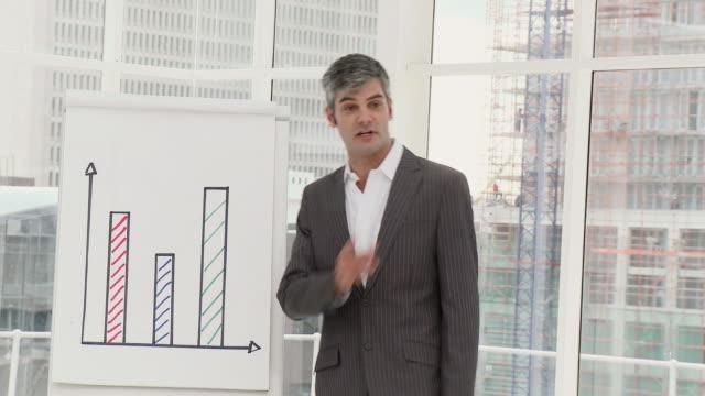 MS Businessman presenting statistics / Cape Town, Western Cape, South Africa