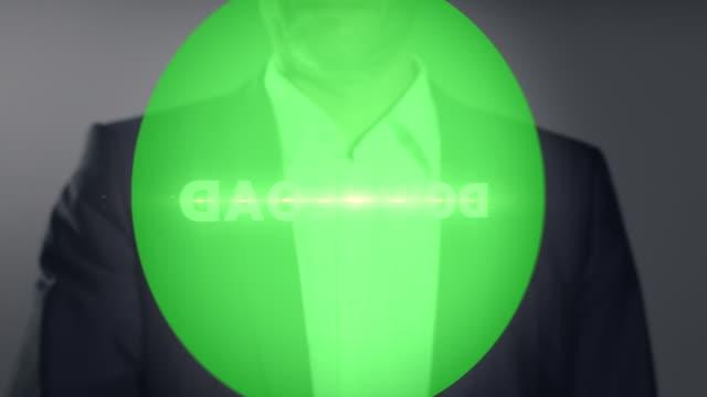"""businessman pressing virtual """"download"""" button - hel kostym bildbanksvideor och videomaterial från bakom kulisserna"""