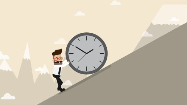 businessman pushing clock upward to the hill (business concept cartoon) - steep hill stock videos & royalty-free footage