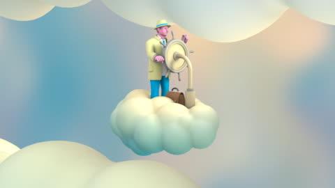 vídeos y material grabado en eventos de stock de hombre que cabalga una nube en el cielo (tres sr) - animación