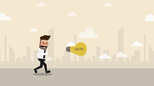 businessman running after flying idea light bulb  (business concept cartoon) - flat lay stock videos & royalty-free footage