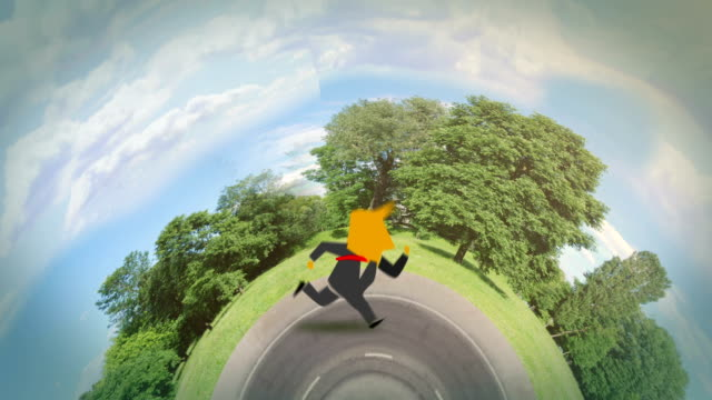 businessman running around the world green