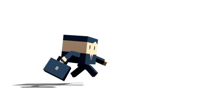 vidéos et rushes de homme d'affaires qui courre sur fond blanc - en dernier