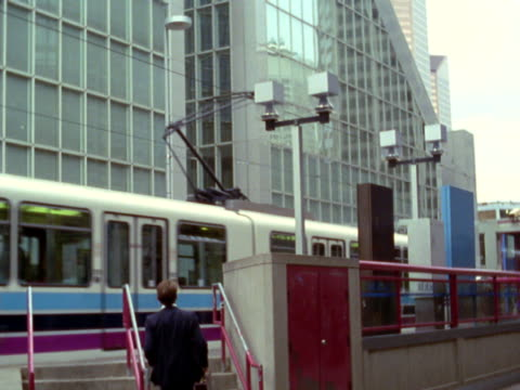 businessman running to upstairs to catch train - only mature men stock videos & royalty-free footage