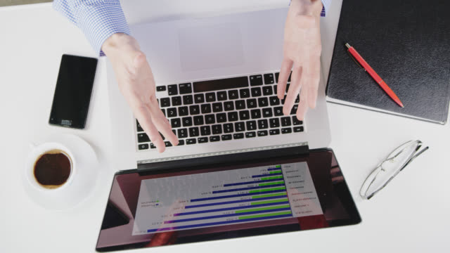 ha businessman showing middle fingers while examining charts on a laptop - obscene gesture stock videos and b-roll footage