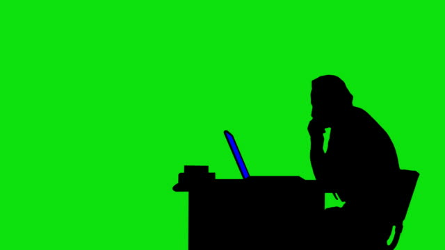 Businessman Silhouette on Green