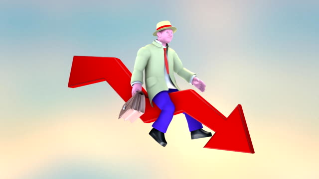Businessman sitting on Red Arrow, Going Down (2 Consecutive versions)