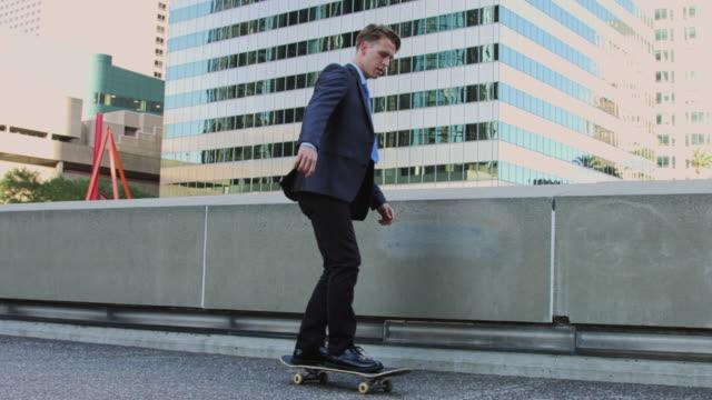 Businessman Skateboarding Away