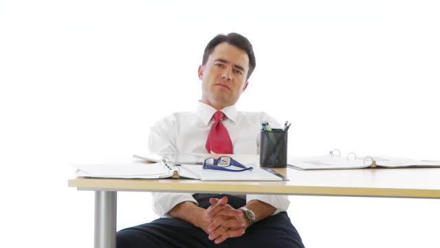 Businessman slouching at desk