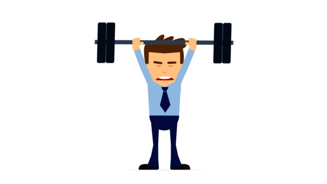 businessman sports barbell animation loopable.  young athlete man doing exercise with weights in gym, alpha channel - matte board stock videos & royalty-free footage