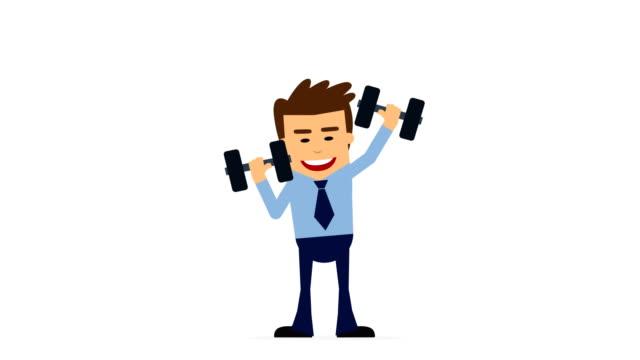 vidéos et rushes de homme d'affaires sports haltère animation boucleable.  jeune homme d'athlète faisant l'exercice avec des poids dans la gymnastique, canal alpha - s'impliquer à fond