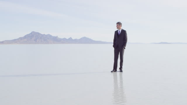 stockvideo's en b-roll-footage met ms rf businessman standing alone on surface of lake looking out at landscape - de volgende stap