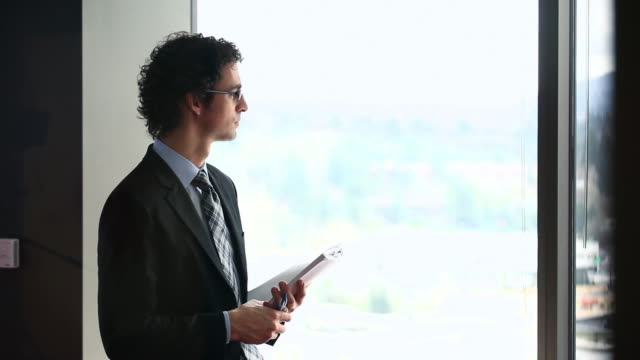 MS DS Businessman standing in office conference room holding document looking out window/Washington, USA