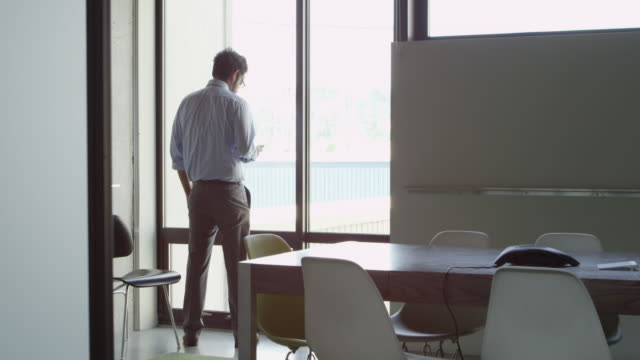 ms businessman standing near window in office checking information smartphone - ein mann allein stock-videos und b-roll-filmmaterial