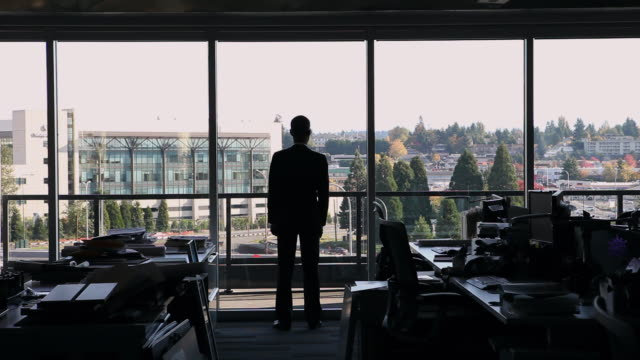 WS Businessman standing near windows in empty office looking out rear view/Washington, USA
