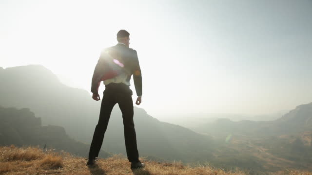 businessman standing on the cliff of mountain  - anzug stock-videos und b-roll-filmmaterial