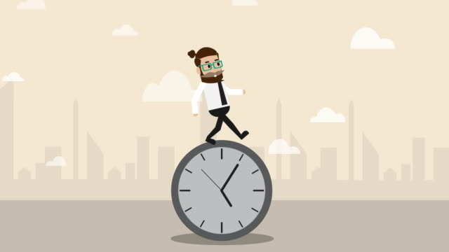 businessman standing on the clock  and moving forward (business concept cartoon) - opportunity stock videos & royalty-free footage