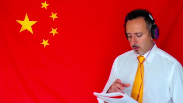 Businessman studying chinese language