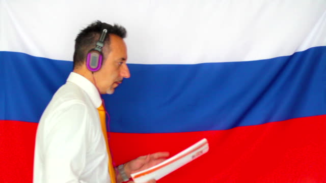 Businessman studying russian language