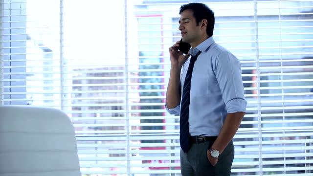 Businessman talkikng on mobile phone, Delhi, India