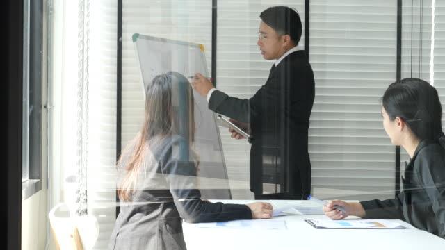 ビジネスチームとのミーティングで話すビジネスマン - 事業戦略点の映像素材/bロール