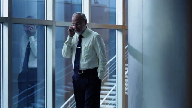 businessman talking on a mobile phone  - assunzione video stock e b–roll