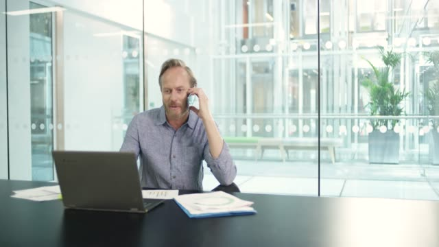 MS of businessman talking on cell phone at desk with laptop in board room