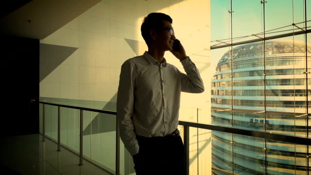 Businessman talking on phone in office building