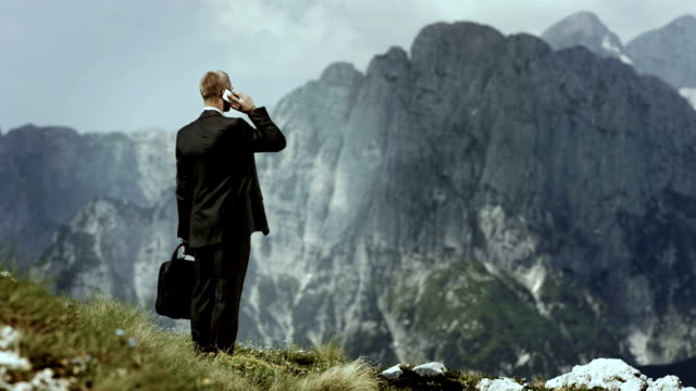 HD: Businessman Talking On Phone In The Mountains